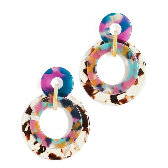 Lele Sadoughi Lele Sadoughi Jungle Peach Banded Hoop Drop Earrings - E900 Image 2