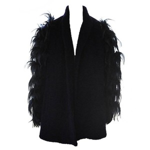 Ted Lapidus Ostrich Haut Couture Lambs Wool Feathers Fur Coat