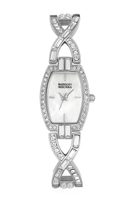 Item - Silver Women's Tonneau Swarkovski Crystal Mother Of Pearl Bracelet Watch