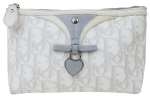 Dior Christian Dior Trotter Pattern Pouch PVC Patent Leather White