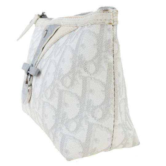 Dior Christian Dior Trotter Pattern Pouch PVC Patent Leather White Image 1