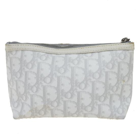 Dior Christian Dior Trotter Pattern Pouch PVC Patent Leather White Image 2