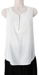 The Kooples Zipper Silk Sleeveless V-neck Career Top White