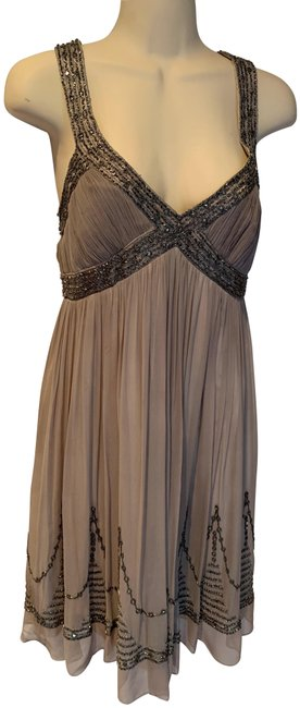 Item - Grey Beaded Silk Chiffon Short Cocktail Dress Size 4 (S)
