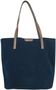 Gianni Notaro Leather Felt Italy Tote in blue & brown