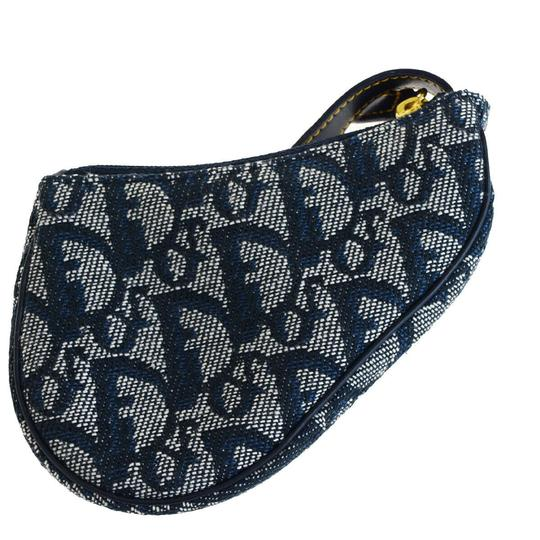 Dior Christian Dior Trotter Pattern Pouch Bag charm Canvas Blue Image 2