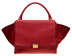 Céline Suede Leather Red Clutch