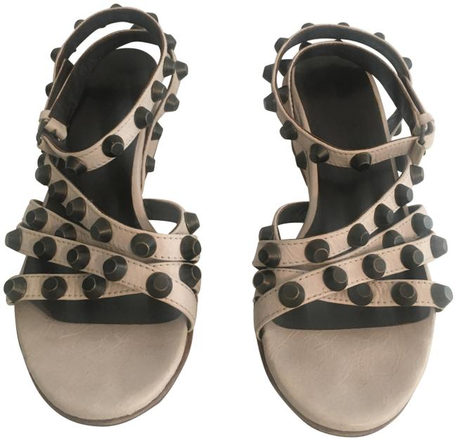 Item - Light Beige Leather Studded Low Wedge Sandals Size US 6 Regular (M, B)