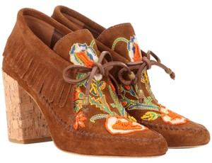 Tory Burch Fringe Suede Embroidered Beaded Embellished Brown Boots