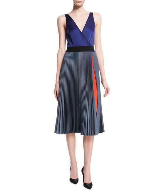 Item - Muti Color Dvf Sleeveless V-neck Faux-wrap Satin Mid-length Work/Office Dress Size 6 (S)
