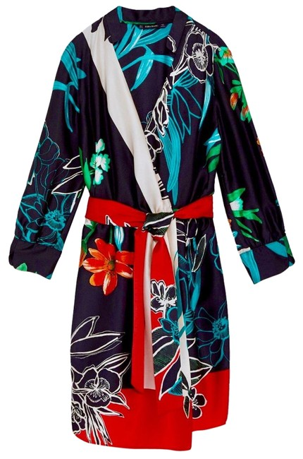 Item - Red Blue & Green Kimono Floral Wrap Mid-length Casual Maxi Dress Size 4 (S)