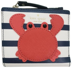 Kate Spade Shore Thing Crab Adalyn Small Wallet Navy White Stripe PWRU6286