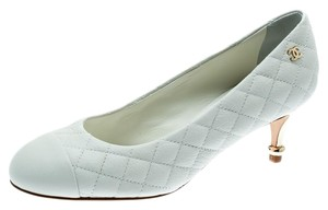 Chanel Quilted Leather White Pumps