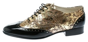Chanel Lace Leather Gold Flats