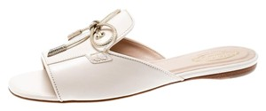 Tod's Limited Edition Leather Crystal Embellished Peep Toe Pink Flats
