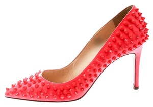 Christian Louboutin Patent Leather Spike Red Pumps