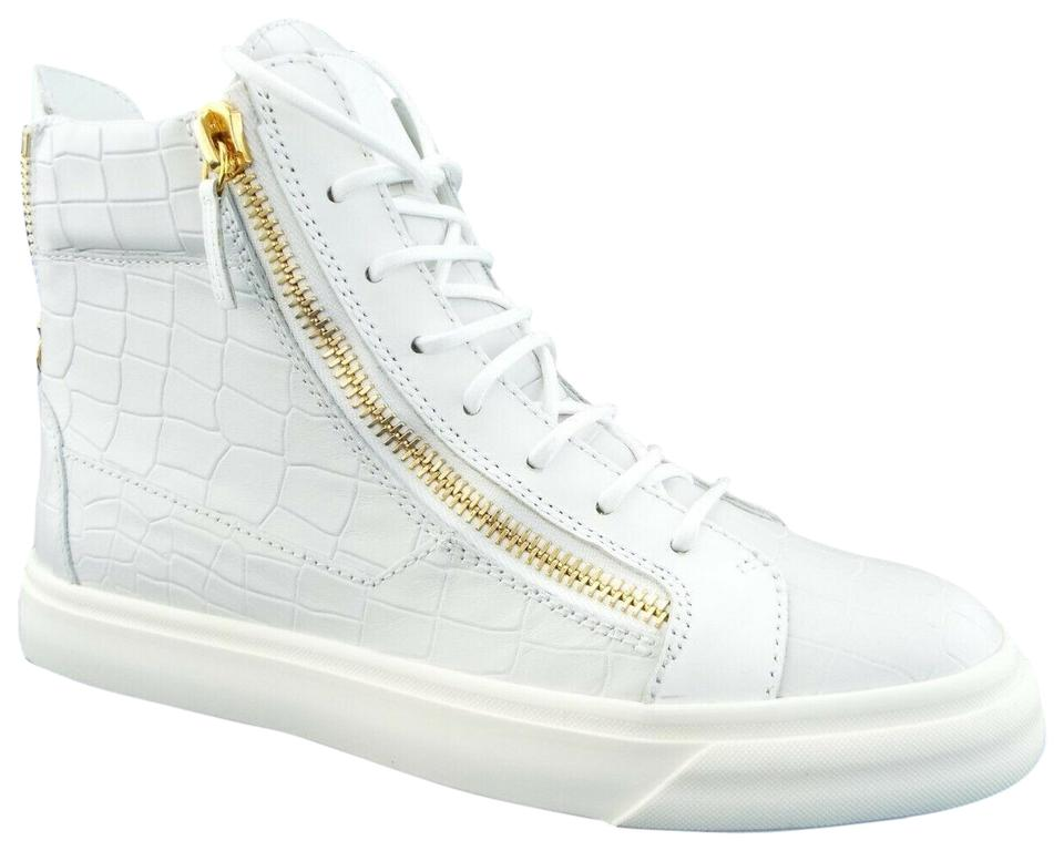 sports shoes buy popular hot sale Giuseppe Zanotti White Crocdile Leather Logo Double Zip High Top Sneakers  Size EU 39 (Approx. US 9) Regular (M, B)