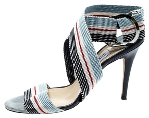 Jimmy Choo Leather Canvas Ankle Multicolor Sandals