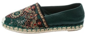 Valentino Embroidered Leather Espadrille Green Flats