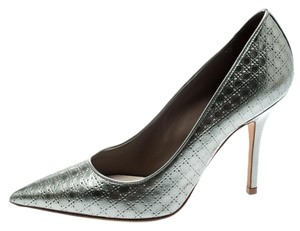 Dior Metallic Leather Pointed Toe Silver Pumps