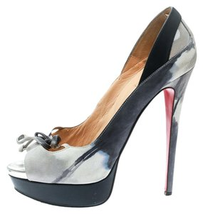 Christian Louboutin Print Suede Blue Pumps