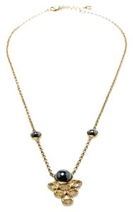 Etienne Aigner Aigner Gold Plated Crystal and Cabochon Embedded Pendant Necklace
