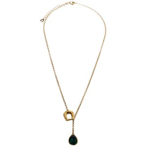 Etienne Aigner Aigner Gold Plated Emerald Teardrop Pendant Necklace