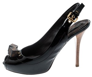 Louis Vuitton Patent Leather Slingback Leather Brown Sandals