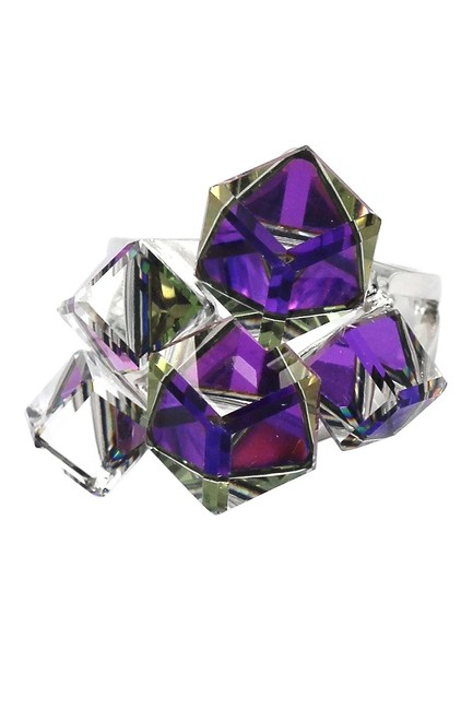 Item - Purple Candy Square Crystal Silver Ring