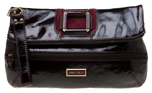 Jimmy Choo Patent Leather Suede Burgundy Clutch