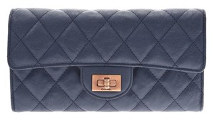 Chanel Chanel 2.55 Fastener Long Wallet Blue G Metal Ladies Lambskin CHANEL