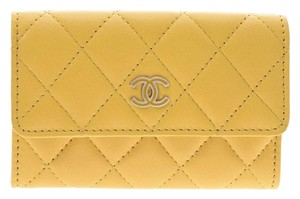 Chanel Yellow Matelasse Lambskin Leather Coin Purse Wallet