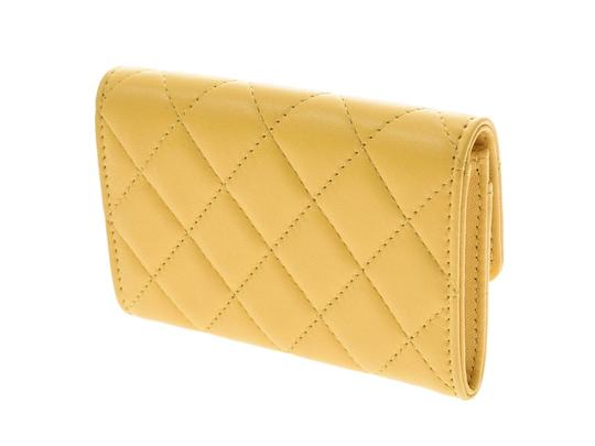 Chanel Yellow Matelasse Lambskin Leather Coin Purse Wallet Image 1