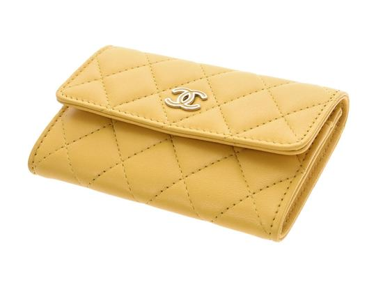Chanel Yellow Matelasse Lambskin Leather Coin Purse Wallet Image 2