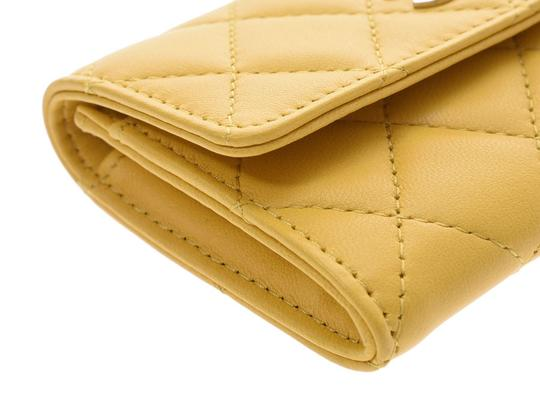Chanel Yellow Matelasse Lambskin Leather Coin Purse Wallet Image 3