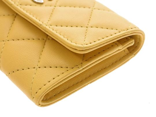 Chanel Yellow Matelasse Lambskin Leather Coin Purse Wallet Image 4
