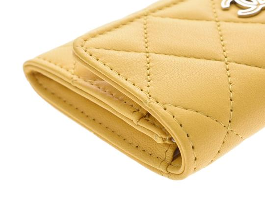 Chanel Yellow Matelasse Lambskin Leather Coin Purse Wallet Image 5