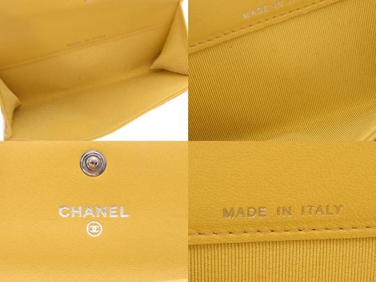 Chanel Yellow Matelasse Lambskin Leather Coin Purse Wallet Image 7