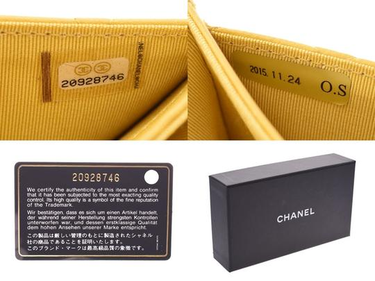 Chanel Yellow Matelasse Lambskin Leather Coin Purse Wallet Image 8