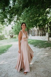 Twobirds Rosewater (Blush) Jersey Ginger Convertible Maxi Formal Bridesmaid/Mob Dress Size 4 (S)