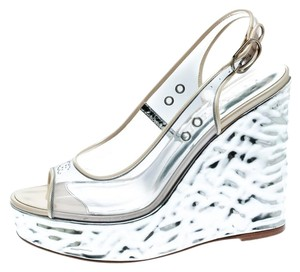 Chanel Textured Slingback Silver Sandals