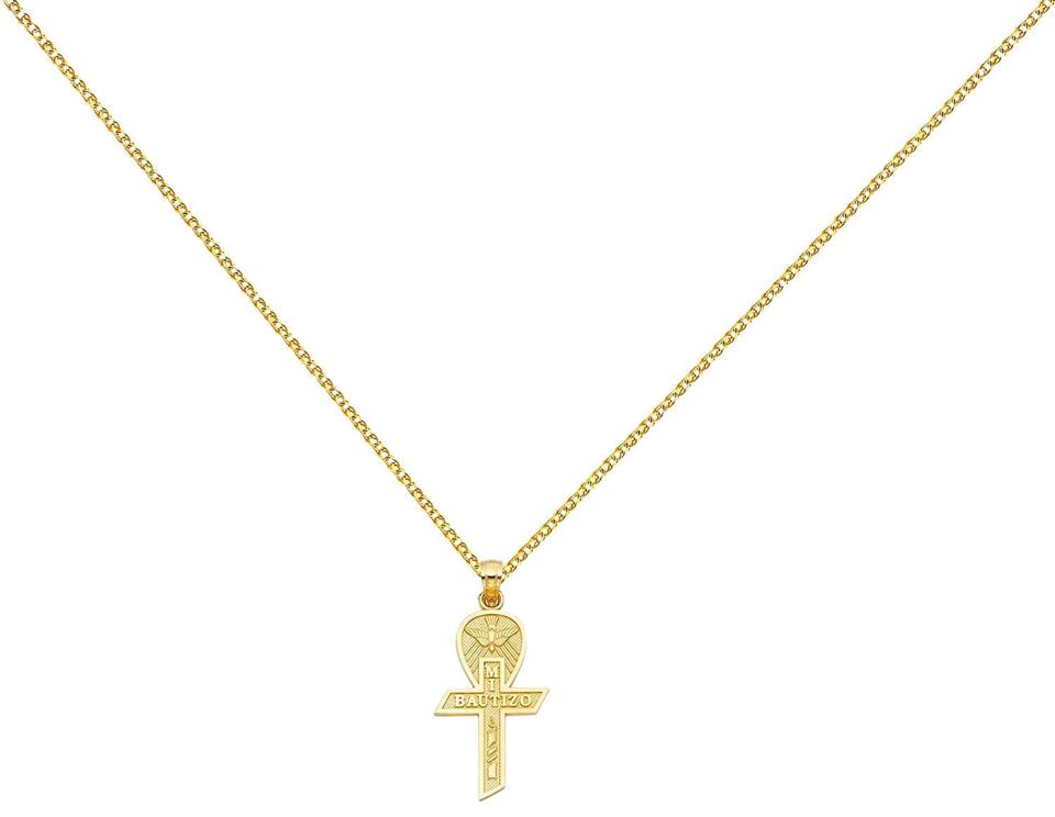 14K Yellow Gold Crucifix Charm Pendant with 1.5mm Flat Open Wheat Chain Necklace