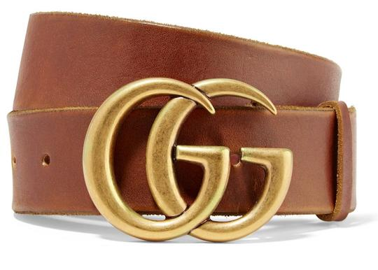 Gucci NEW 95cm GUCCI BROWN LEATHER GG GOLD BELT THICK NEW 95 Image 11