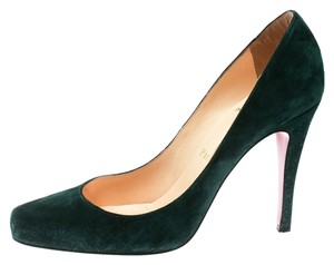Christian Louboutin Suede Green Pumps