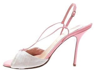 Christian Louboutin Peep Toe Slingback Leather Pink Sandals