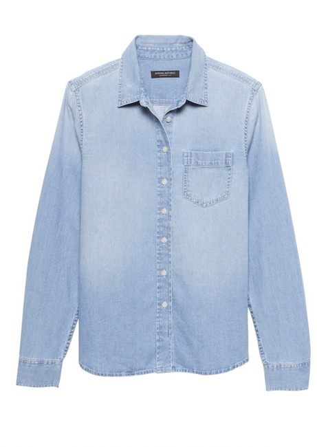 Item - Blue Petite Quinn Straight-fit Soft Denim Chambray Shirt Button-down Top Size 4 (S)