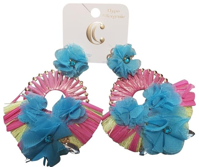 Item - Neon Pink Yellow & Blue Straw and Fabric Earrings