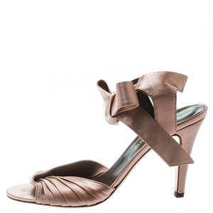 Valentino Satin Pleated Ankle Strap Pink Sandals