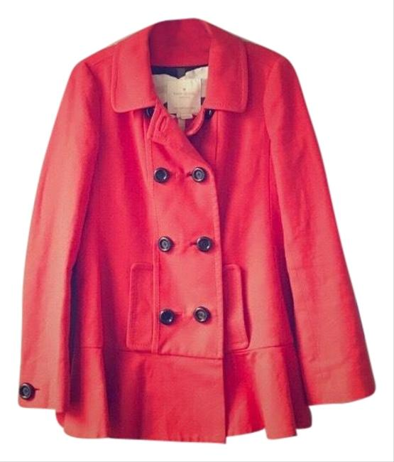 Item - Red-orange Cotton Drop Waist Pleated Coat Size 2 (XS)