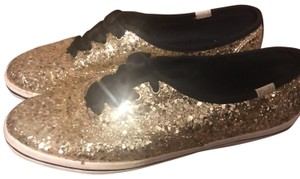 Kate Spade Glitter Satin Lace Flat Gold Athletic